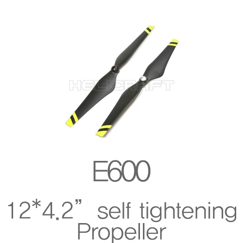 "[예약판매][DJI] E600 Spare parts 12*4.2"" Self tightening black props Yellow strips 